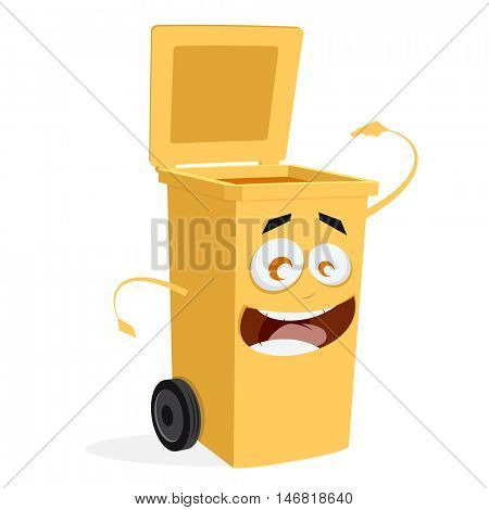 yellow trashcan is ready for rubbish