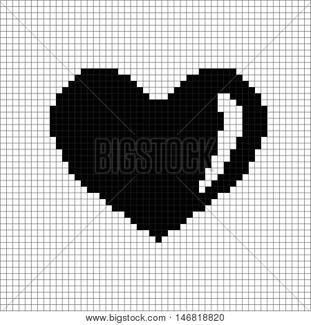 Sign pixel heart. Image of love. Black icon in grid isolated on white background. Monochrome romantic symbol. Logo for game. Light health content. Mark of valentine. Stock vector illustration