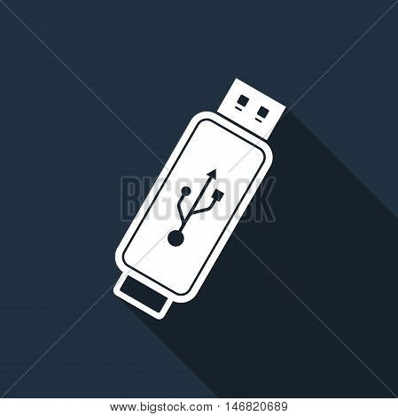 USB flash drive flat icon with long shadow. Vector Illustration