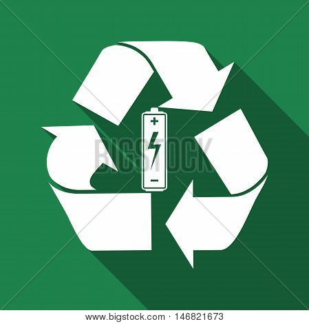 Battery with recycle symbol - renewable energy concept flat icon long shadow. Vector Illustration