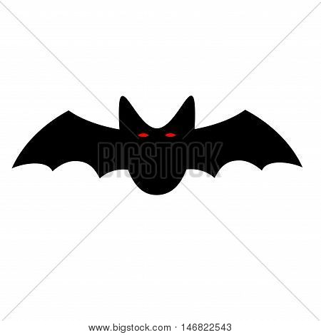 Flying bat sign. Image of black vampire with red eyes. Creepy icon isolated on white background. Symbol of dracula. Logo for party or greeting. Mysterious creature. Mark of Halloween. Stock VECTOR