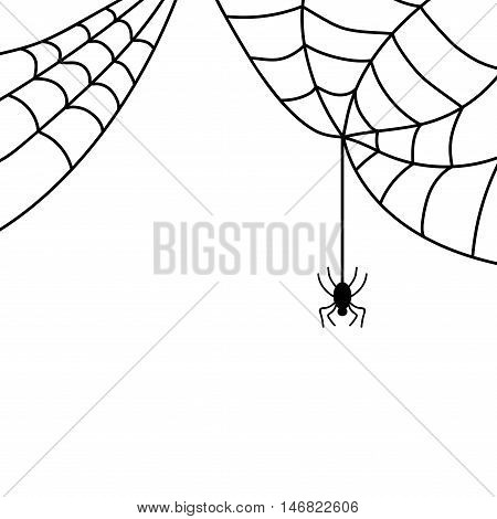 Spider sign. Image of black insect with web. Creepy icon isolated on white background. Symbol of spidery. Logo for party or greeting. Mysterious creature. Mark of Halloween. Stock VECTOR illustration