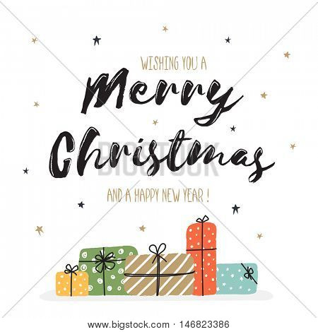 Merry Christmas and Happy New Year celebration Greeting Card, Creative hand drawn lettering design with wrapped gift boxes, Typographic festive background with stars, Vector illustration.