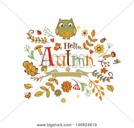 Hello Autmn banner in doodle style, hand-drawn animals and insects, flowers and plants