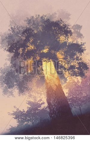 magic tree with light glowing inside, illustration painting