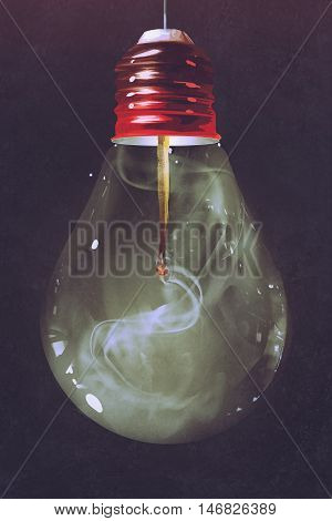light bulb with burnt matchstick inside on dark background, illustration painting