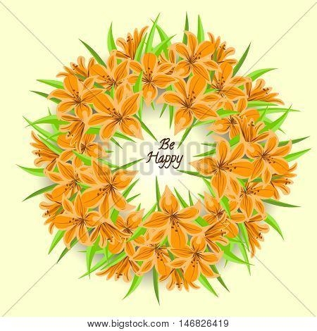 Wreath with lily and inscription. lily wreath. Lily bouquet.
