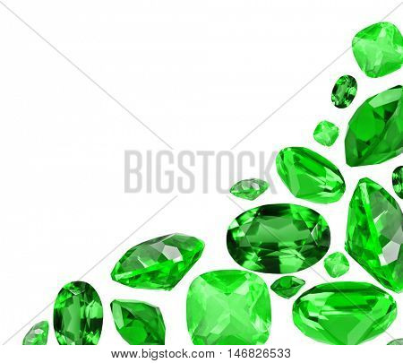 corner from green emerald gems isolated on white background