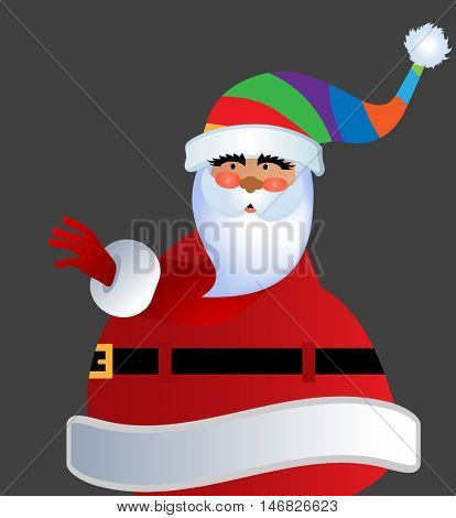 Rolley-poly Fat santa in Striped Stocking hat