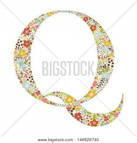 Q letter with decorative floral ornament