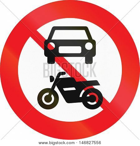 Road Sign Used In Denmark - No Motor-driven Vehicles