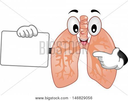 Mascot Illustration of a Healthy Human Lungs Delivering a Presentation While Holding a Blank Board