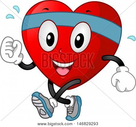 Illustration of a Smiling Heart Mascot in Headband and Training Shoes Jogging