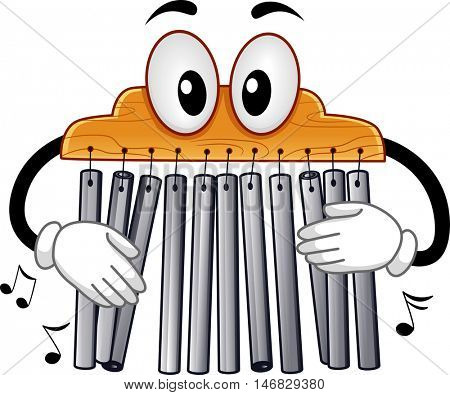 Musical Instrument Mascot Illustration of a Mark Tree Playing with its Bar Chimes