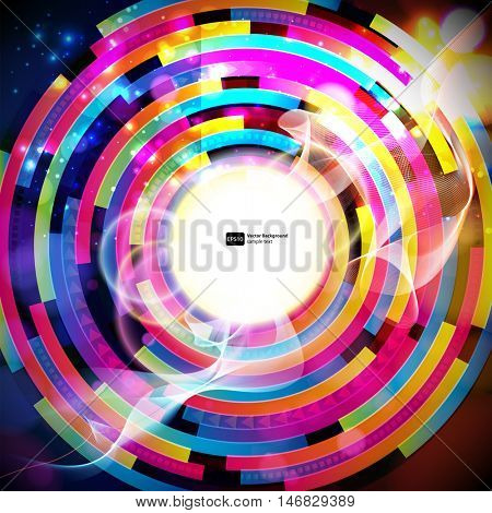 Vector abstract background. Colorful techno pattern on a dark. Sun and thin wavy lines and transparent circles blur.  Design card with round place for your text.