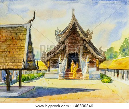 Watercolor landscape original painting colorful of trees in temple beautiful sunlight and green leaves background