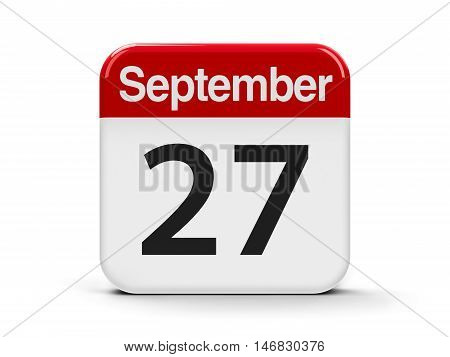 Calendar web button - The Twenty Seventh of September - World Tourism Day three-dimensional rendering 3D illustration
