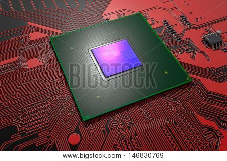 Microchip with visible die on the red printed circuit board, 3D illustration