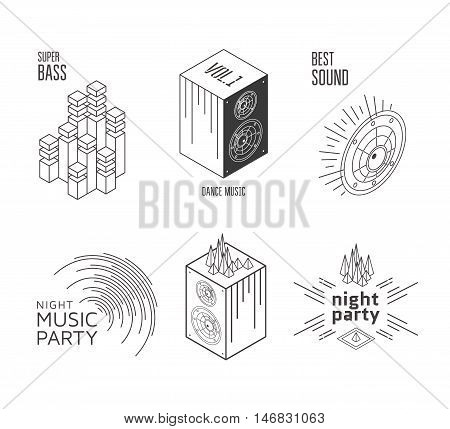 Music set label or design elements. Night party icon. Vector