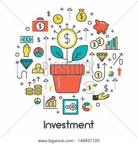 Investment Line Art Thin Vector Icons Set with Money Tree and Financial Elements