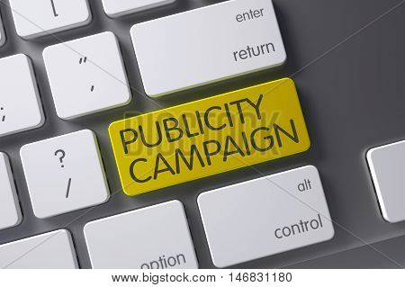 Concept of Publicity Campaign, with Publicity Campaign on Yellow Enter Button on Laptop Keyboard. 3D Illustration.