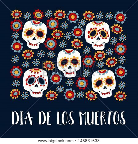 Dia de Los Muertos greeting card invitation. Mexican Day of the Dead. Ornamental sugar skulls flowers. Hand drawn vector illustration background.
