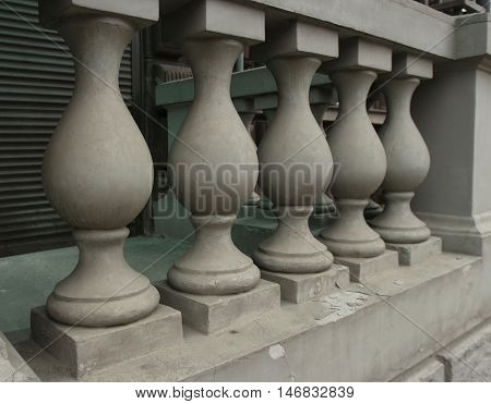 the old classic stone balusters handrail close-up
