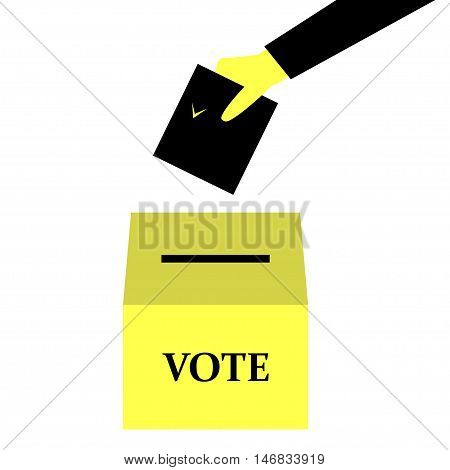 Hand puts the ballot in the ballot box - vector illustration on elections in black and yellow
