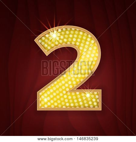 Gold light lamp bulb font number 2 Two. Sparkling glitter design in style of vegas casino, burlesque cabaret and broadway show decoration. Shining numbers symbols of alphabet set for light board