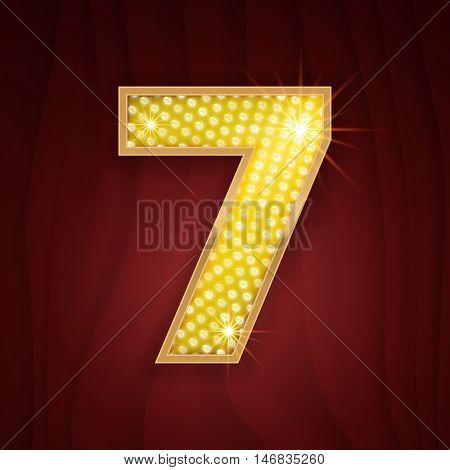 Gold light lamp bulb font number 7 Seven. Sparkling glitter design in style of vegas casino, burlesque cabaret and broadway show decoration. Shining numbers symbols of alphabet set for light board