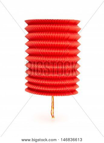 foldable red lantern hanging on a white background
