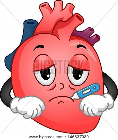 Mascot Illustration of a Sick Human Heart Using a Thermometer to Check its Temperature