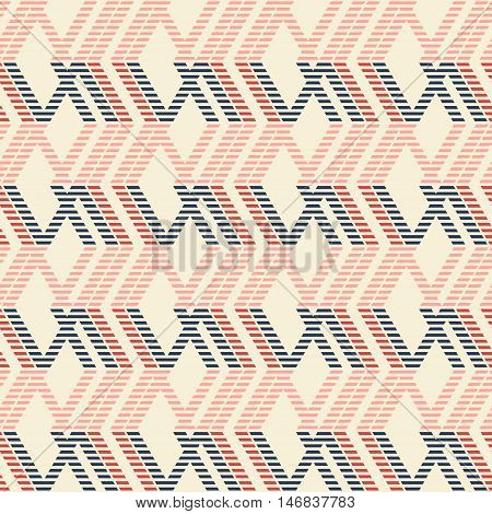 Abstract seamless geometric pattern of rhomboid shapes with stylish striped lines in pleasant color palette. Vector illustration for modern design