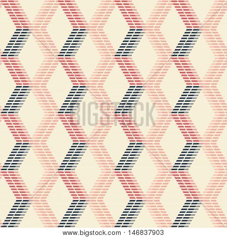 Abstract seamless geometric pattern of crossing vertical zigzag lines forming rhomboid shapes. Striped figures in pleasant retro color palette. Vector illustration for modern design