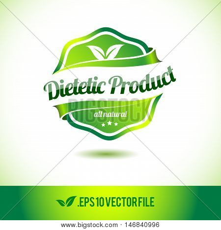 Dietetic product badge label seal stamp logo text design green leaf template vector eps