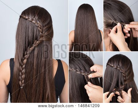 hairdo cascade braid hair tutorial. Hairstyle for long hair. Simple hairstyle for long and medium loose hair tutorial. Braid hairstyle. Hair tutorial
