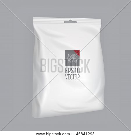 Isolated foil bag, blank food packaging. Foil bag for chips, coffee, sachet, cookies, sweet. Packaging mockup. Packaging template. Blank food packaging. 3d realistic food package. Vector packaging. Package for food. Packaging ready for design. Chips bag