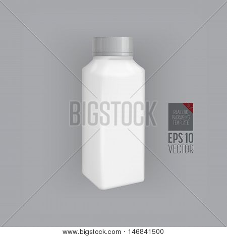Plastic juice bottle template. Blank packaging isolated on grey background. Package template. Realistic 3d pack. Mock up layout design. Drink plastic bottle vector isolated. Plastic packaging layout. Juice bottle packaging. Packaging ready for design.