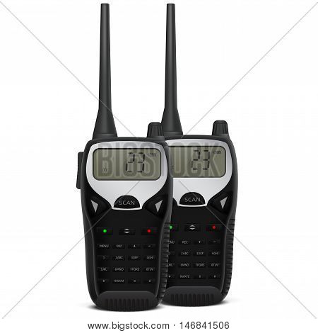 Radio transceiver. Pair of talkie. Realistic vector illustration on white background