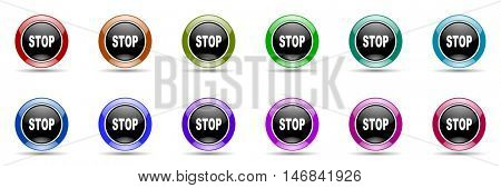 stop round glossy colorful web icon set