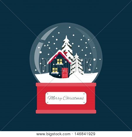 Merry christmas snow globe with a small house and fir-tree under the snow. New Year gift.