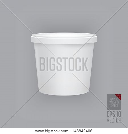 Food plastic tub bucket container vector isolated. Plastic packaging. Blank food tube bucket for dessert or cream soup. Plastic container for liquid products. 3d realistic food packaging. Vector packaging. Mock up layout design. Packaging template.