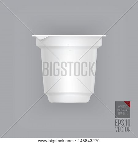 Yogurt container isolated on grey background. Blank box ice cream or dessert. Plastic container for liquid milk products. 3d realistic yogurt packaging. Vector yogurt packaging. Plastic packaging. Packaging template. Layout for yogurt packaging design.