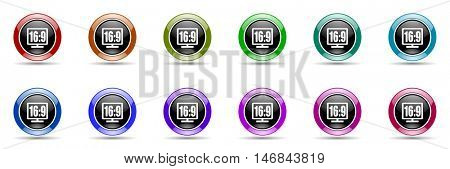 16 9 display round glossy colorful web icon set