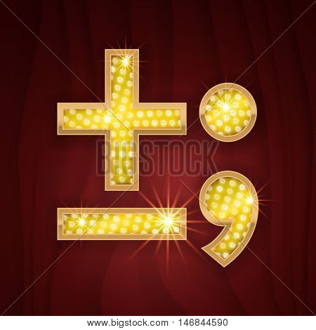 Gold light lamp bulb font Minus, Plus, Semicolon, Dot, Comma marks and signs. Sparkling glitter design in style of vegas casino, burlesque cabaret and broadway show decoration poster