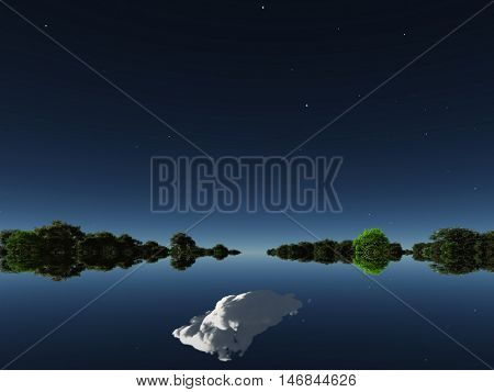 Water surface, forest on the horizon  3D Render
