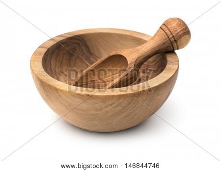 Empty wooden bowl and scoop isolated on white