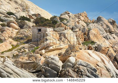 Rocks and hut in the Archipela of Maddalena in Sardinia