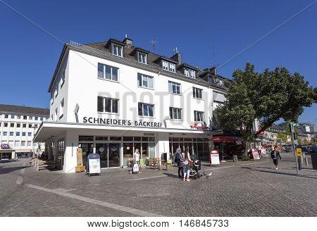 SIEGEN GERMANY - SEP 8 2016: Traditional german bakery - Scheiders Bakckerei - in the city of Siegen. North Rhine-Westphalia Germany