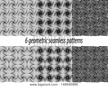 Set of 6 vector zentangle patterns. Black and white zentangle backgrounds. Paradox zentangle patterns. Each pattern is on swatches panel